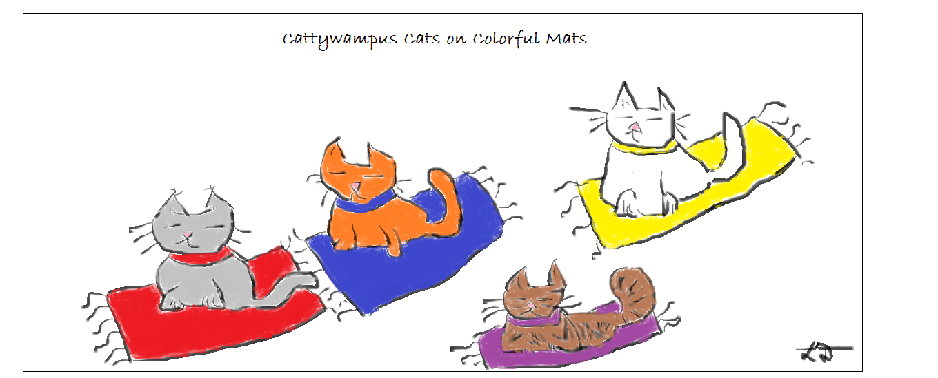 Cattywampus Cats on Colorful Mats.2